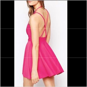 🔵Pink Choker Style Skater Dress